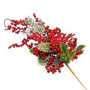 Galho Natural Berry Vermelho e Verde