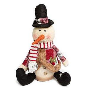 Boneco de Neve Sentado Candy com cartola e cachecol