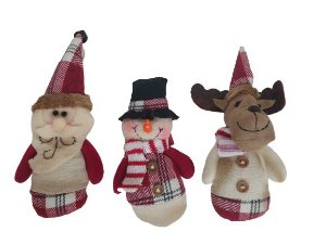 Enfeite para árvore de natal Rena, Papai Noel e boneco de neve