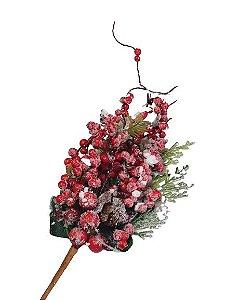 Galho Natural Lilac Verde e Vermelho 35cm