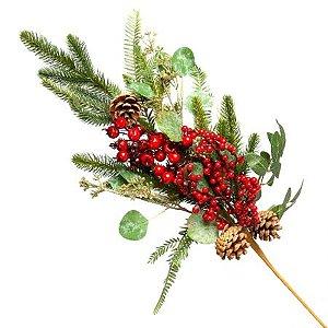 Galho Natural Verde e Vermelho 80cm