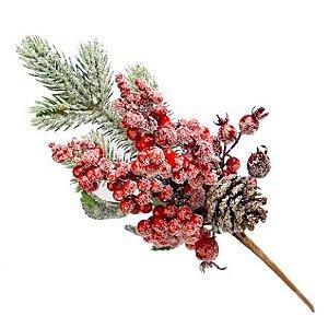 Galho Natural Lilac Verde e Vermelho 30cm