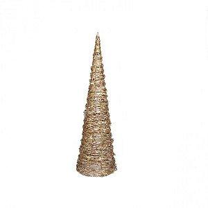 Arvore Decorativa Prata e Dourado Com Iluminaçao 80cm