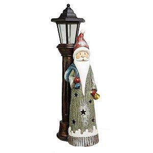 Papai Noel Decorativo Com Poste de Luz em Resina