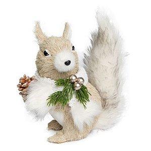 Esquilo em Pe Natural Com Cachecol Branco