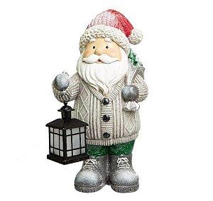 Papai Noel Decorativo cinza com iluminaria