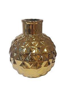 Vaso Decorativo Dourado em Ceramica