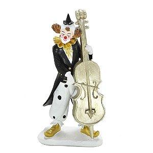 Escultura Palhaço Decorativo com violoncelo