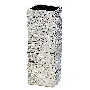 Vaso Decorativo em Ceramica Prata