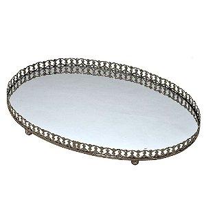 Bandeja Decorativa Oval Prata