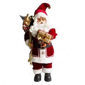 Papai Noel em Pe Banqueiro com presente