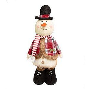 Boneco de Neve Candy Perna Retratil com cartola e cachecol