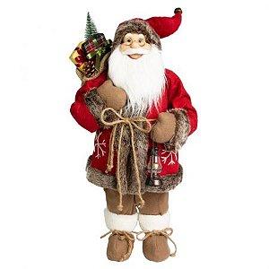 Papai Noel em Pe Lenhador Vermelho - 60cm