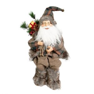 Papai Noel Sentado Lenhador com saco de presente