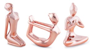 KIT ESCULTURA YOGA ROSE GOLD EM PORCELANA - 3 PCS