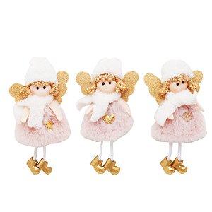 Enfeite p/ pendurar trio de anjinho com gorro branco