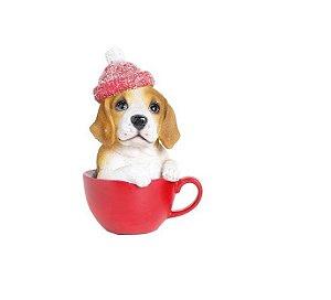 Cachorro na xicara c/ gorro vermelho