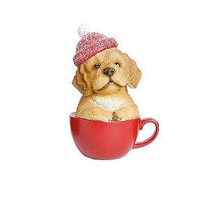 Cachorro na xicara vermelha c/ gorro