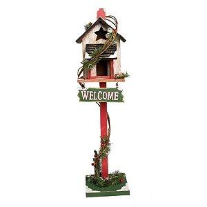 Casinha decorativa vermelha e verde Welcome