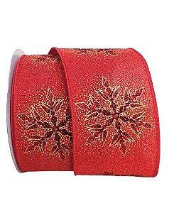 Fita Decorativa.Vermelha com floco de neve dourado 14m