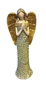Anjo Orando dourado com detalhes florais