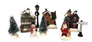 Vila Natalina - Mini Casas com Luz de Led Papai Noel e Boneco de Neve - 10pçs