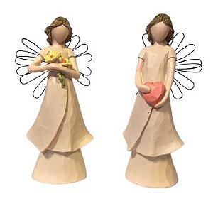 Par de Anjo em Resina com Flores e coraçao e asas de metal