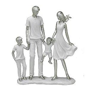 ESCULTURA FAMILIA DECORATIVA COM DOIS MENINOS