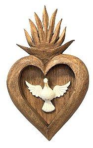 Divino Espirito Santo em Madeira com sagrado coração