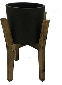 Cachepo de ceramica preto com suporte em madeira P