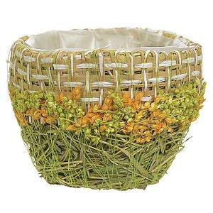 cachepot em Palha com flores laranja e verde
