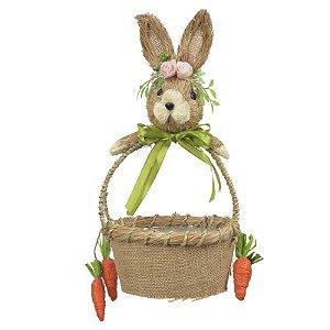 Cesta em  Palha c/ coelha c/ flores e cenoura