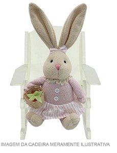 Coelha Decorativa de Palha Sentada c/ vestido rosa