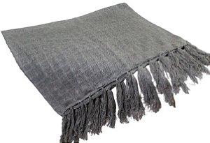 Manta Decorativa para sofa de Algodao Cinza