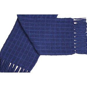 Manta Decorativa para sofa de Algodao Azul Marinho
