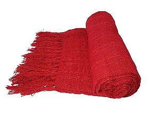 Manta Decorativa para sofa de Algodao Vermelha