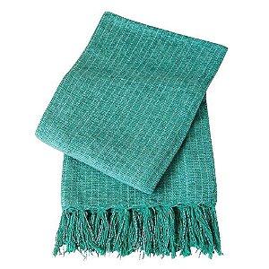 Manta Decorativa para sofa Algodão Verde