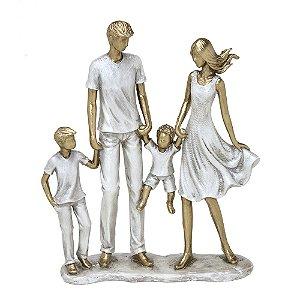 ESCULTURA FAMILIA DECORATIVA COM DOIS MENINOS EM RESINA