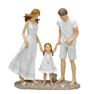 ESCULTURA FAMILIA DECORATIVA COM MENINA EM RESINA