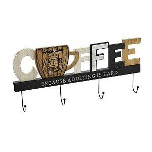 GANCHO DE PAREDE CAFE EM METAL E MADEIRA
