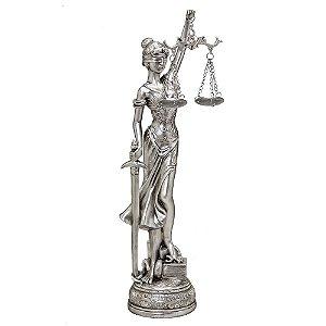 ESCULTURA DAMA DA JUSTICA PRATA DECORATIVA