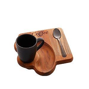XICARA CAFE C/BANDEJA MADEIRA TECA E COLHER 93ml