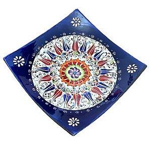 Prato Turco Decorativo Quadrado 22,5cm