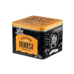 LATA PORTA CAPSULAS DE METAL COFFEE HOUSE DOURADO