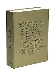 CAIXA LIVRO BOOK BOX METALIZADO ORACAO PAI NOSSO