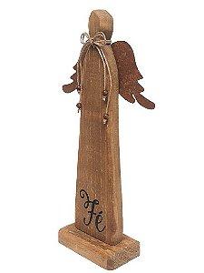 Anjo Decorativo em Madeira e Metal com escrita Fe