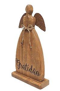 Anjo Decorativo em Madeira e Metal com escrita Gratidao