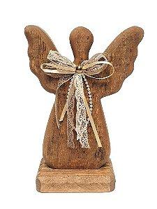 Anjo Decorativo em Madeira com laço de tecido