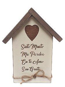 Casinha Decorativa de Madeira com escrita Hoponopono