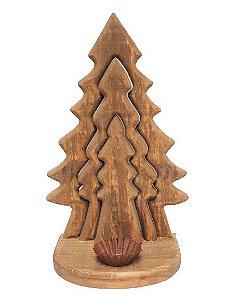 Arvore de Natal Tripla Decor de Madeira Rustica com castiçal